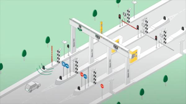 Считывание сигнала транспондера при подъезде к пункту оплаты